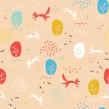 Forest seamless pattern with animals. stock illustration