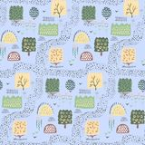 Forest seamless pattern background. Shift brick 0.5. Vector illustration. Forest seamless pattern background. shift of the pattern 0.5 . Vector illustration Royalty Free Stock Photos