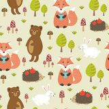 Forest seamless pattern with cute animals Royalty Free Stock Images