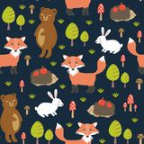 Forest seamless pattern with cute animals Stock Photography