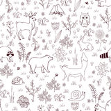 Forest seamless pattern with cute bear, fox, hedgehog, birds, bees, butterflies, mushrooms, owl, snail, deer, hear, and Royalty Free Stock Photography