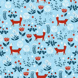 Forest seamless pattern with cute little foxes and flovers. Royalty Free Stock Image