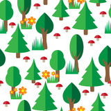 Forest seamless pattern in flat style Stock Photos