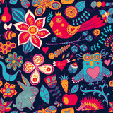 forest seamless pattern. Floral background.Owl, rabbit, butterf Royalty Free Stock Photos