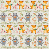 Forest seamless pattern with fox,raccoon. Stock Images