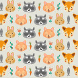 Forest seamless pattern with fox,raccoon, Bunny and Cat. Stock Images