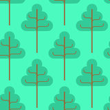 Forest seamless pattern. Green trees ornament. Kids fabric textu. Re Stock Photo
