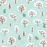 Forest seamless pattern with hares Stock Image