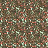 Forest seamless pattern. Mushrooms, berries and leaves. Vector illustration Stock Photo
