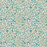 Forest seamless pattern, mushrooms, berries and. Forest seamless pattern. Mushrooms, berries and leaves. Vector illustration stock illustration