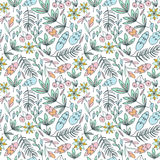 Forest seamless pattern in pastel colors vector illustration