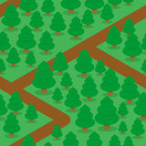 Forest seamless pattern. Spruce thicket natural background.. Forest trails and trees. Texture for baby tissue Stock Photo