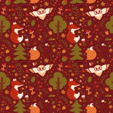 Forest seamless pattern. Vector background. Royalty Free Stock Images