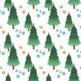 Forest seamless pattern. Forest. Vector seamless pattern. Isolated on white background Royalty Free Stock Image