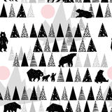 Forest seamless pattern. Wildlife pattern. Grizzly Bear. Abstract forest pattern. Hand drawn forest background. Wild Bear. Alaska park. Vintage forest Stock Photo