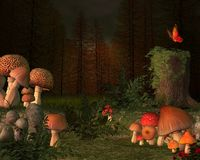 Forest secret place with magic mushrooms vector illustration