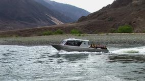 Forest service jet boat Hells Canyon Snake River Idaho stock footage