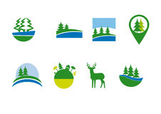 Forest set of icons. Vector icons set. Vector collection of forest icons. A series of natural themes. Forest set of icons on a white background. Icon set Royalty Free Stock Photos