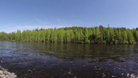 Forest from the side of a motor boat. Travel by river on a boat. Spring river. North Ural stock video footage