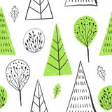 Forest simple sketh drawn hand seamless pattern with tree, foliage, coniferous, spruce, fir. For wallpapers, web. Forest simple sketh drawn by hand seamless stock illustration