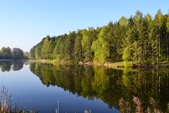 Forest and sky are reflected in the calm blue water of the forest lake. Early morning. Relax and silence Stock Photography