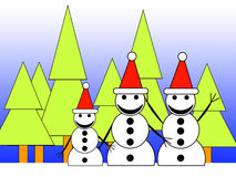 Forest Snowman Family. A family of happy snowmen in a forest Royalty Free Stock Image