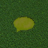 Forest speech bubble. 3D illustration of speech bubble shaped clearing in coniferous forest Royalty Free Stock Photos