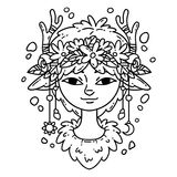 Forest spirit girl. Forest nymph. Forest spirit girl. Vector illustration. Coloring page. Forest nymph. Black and white illustration stock illustration