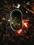 Forest Spruce Tea, Pine Tea, Camping, Outdoor. Fire bonfire Tea Adventure Hike Hiking Outdorlife Wild Wildfood royalty free stock image