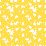 Forest squirrel and fir tree yellow seamless pattern. Vector background Stock Photo