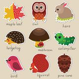 Forest stickers set Royalty Free Stock Image