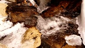Forest Stream in Winter. A Forest Stream flows in the Mountains of North Carolina stock footage