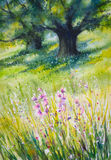 In forest. Sunny summer forest.Picture created with watercolors Stock Image