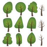 A forest of symbols for a green spirit - trees of various forms royalty free illustration