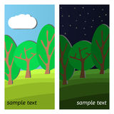 Forest-25. Three Trees. Day and Night on a Clearing in the Forest Stock Photos