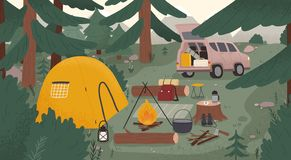 Forest touristic camp with tent, bonfire, firewood, campervan, equipment, tools for adventure tourism, travel, bushcraft. Backpacking. Campsite surrounded by royalty free illustration