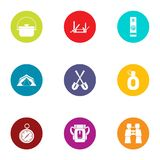 Forest traffic icons set, flat style. Forest traffic icons set. Flat set of 9 forest traffic vector icons for web isolated on white background Royalty Free Stock Photo
