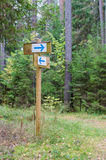 Forest trail signpost with pointing arrows Stock Photo
