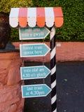 Forest Train Signpost, Portmeirion photos stock