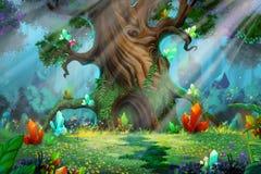 Forest Treasure. Video Games Digital CG Artwork, Concept Illustration, Realistic Cartoon Style Background royalty free illustration