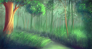 Forest. Tree, grass/ illustration painting Royalty Free Stock Images