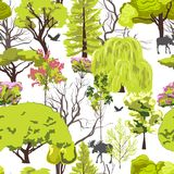 Forest tree sketch seamless Royalty Free Stock Images