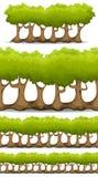 Forest Trees, barriere senza cuciture e Bush messi per il gioco Ui illustrazione di stock