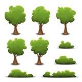 Forest Trees, Bush e conversão ajustados ilustração stock