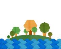 Forest Trees ed il fiume blu abbelliscono il mestiere di carta Immagine Stock