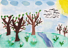 Forest trees and flowers on the hill. Kid made fairytale illustration picture. Forest trees and white flowers on the hill and river, sun and birds in the sky stock illustration