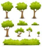 Forest Trees, häckar och Bush uppsättning stock illustrationer