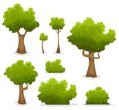 Forest Trees, Hedges And Bush Set Stock Photos