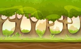 Forest Trees And Hedges Landscape senza cuciture per il gioco Ui illustrazione vettoriale