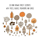 Forest trees vector illustration set. Collection of 30 hand drawn trees, pines, bushes, mushrooms and grass in doodle style. Isolated botanic design elements Stock Images
